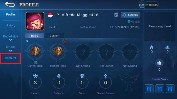 mobile legends profile account
