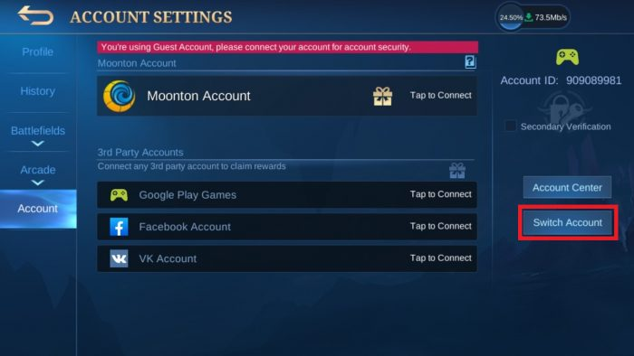 mobile legends switch account